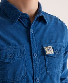 Superdry Paperweight Wale Shirt Blue