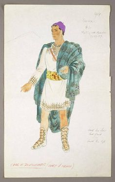 """COSTUME SKETCH FROM """"BEN HUR"""" 1959. - created for Charlton Heston as he portrayed Judah"""