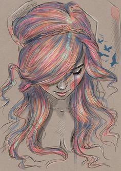 En este cuadro de formato vertical podemos ver un retrato hecho con lápices de colores. El mayor peso visual se encuentra claramente en el pelo de la chica ya que es la zona en la que encontramos más color. Esta compuesto por tonos rosas, azules y amarillos, mientras que el resto de la imagen prácticamente carece de color.