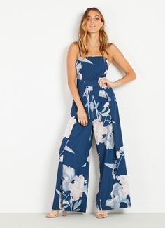 Essential Jumpsuit - Navy Floral Casual Jumpsuit, White Jumpsuit, Long Jumpsuits, Playsuits, Casual Chic, Latest Trends, Navy, Floral, Summer