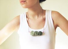 Ombre Necklace In Green -hand Knit Jewelry - Boho Necklace Boho Necklace, Boho Jewelry, Jewelry Crafts, Jewelery, Crochet Necklace, Unique Jewelry, Diy Accessories, Hand Knitting, Bling