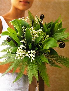 Fiddlehead, Fern and Lilly of the Valley...so fresh and unexpected for a bouquet!