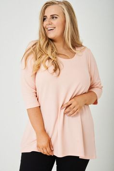 Womens Plus Size Stretchy Pale Pink Tunic Top Sleeve Sizes 16 - 28 Longline Long A Line, Summer Tops, Body Shapes, Pale Pink, Plus Size Outfits, Size 16, Tunic Tops, Blouse, Lady