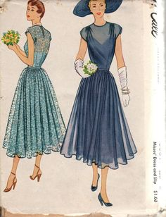 Beautiful evening gown with slip and self belt. CONDITION Pattern: cut and complete Envelope: fair-tears on seams, worn in places LOVE VINTAGE!!