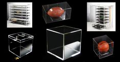clear plexiglass acrylic display cases and display boxes. http://www.eplastics.com/Plastic/Display_Cases