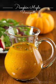 Vegan Holiday Recipes: Pumpkin Maple Vinaigrette - An amazingly delicious, vibrantly-hued dressing that pairs well with so many ingredients. It's also spectacular in a simple salad of fresh greens. Chutneys, Vegetarian Recipes, Cooking Recipes, Healthy Recipes, Pumpkin Recipes, Fall Recipes, Maple Vinaigrette, Vinaigrette Dressing, Vinaigrette Recipe