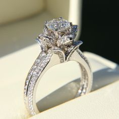 CUSTOM MADE 2 carats UNIQUE Rose Flower DIAMOND Engagement ring