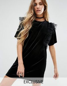 Reclaimed Vintage | Reclaimed Vintage Velvet T-Shirt Dress With Frill Detail