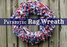 Patriotic Rag Wreath Labeled