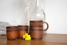 Conjunto de dos pequeños vasos de cerámica cerámica vaso
