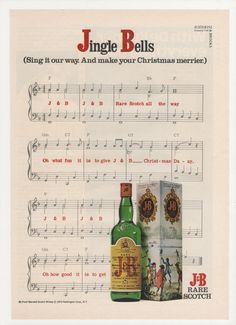 =-=1974 J & B Scotch Jingle Bells Advertisement Sheet Music Christmas Holiday Season