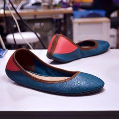 Custom Shoe of the Week: Ballerine Flats in Vegetable-Tanned Teal with Blaze Heels and Dark Cedar Trim.