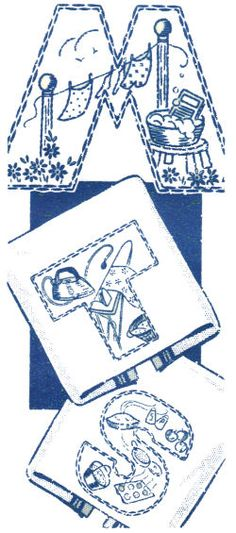 Vintage Household Chores Kitchen Towel Set embroidery pattern