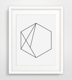 Hexagon Art, Black and White, Minimalist Wall Art, Hexagon Print, Geometric Wall Art, Minimalist Home Decor, Modern Decor