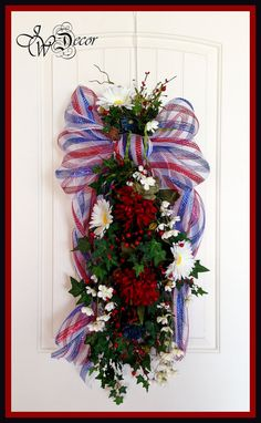 PATRIOTIC WREATHS Americana 4th of July Swag Deco Mesh Bow by JWDecor