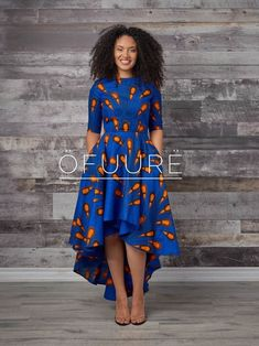 Ankara blue bulb dress Make head spins with this stunning blue African fabric hi-low dress. length sleeve Back zip cotton Made with high-quality African print wax fabric 2 side pockets Latest African Fashion Dresses, African Print Dresses, African Print Fashion, African Dress, African Prints, African Fabric, African Clothes, African Wear, Dress Fashion