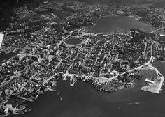 [Oversiktsbilde, Bergen] fra marcus.uib.no Bergen, Norway, City Photo, History, Historia, Mountains