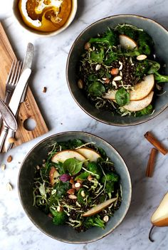 Warm Lentil + Pear Winter Salad w/ Freshly Grated Cinnamon