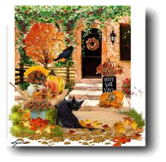 """Happy Fall / Yard Decorations"" by sgolis ❤ liked on Polyvore featuring art, outdoorliving, fallstyle, falldecorations and zazzlepostcard"