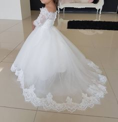 flower girl dress, White Tulle Off the Shoulder Princess Kid's Wedding Gowns with Half Lace Sleeves Little Girl Pageant Dresses, Princess Flower Girl Dresses, White Flower Girl Dresses, Wedding Flower Girl Dresses, Lace Flower Girls, Girls Dresses, Party Dresses, Wedding Attire, Wedding Gowns