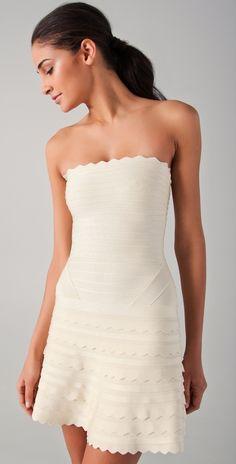 Herve Leger white scalloped dress