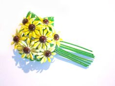 Vintage Enameled Green Yellow Flower Brooch Pin 2 by SoBejeweled