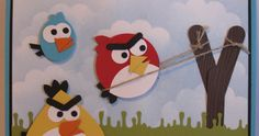 In My Craft Room - Stamping With Glenda: Angry Birds Punch Art Card