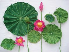 """""""Lotus"""" (2013) by Ruth Marshall """"Knit, Purl, Sow"""" An exhibit of Botanically-Accurate Knitted Plants and Flowers"""