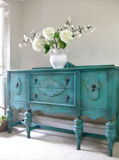 Items similar to SOLD - Hand Painted French Country Cottage Chic Shabby Romantic Vintage Victorian Jacobean Aqua Turquoise Sideboard Cabinet Buffet on Etsy Paint Furniture, Accent Furniture, Furniture Makeover, Furniture Design, Shabby Chic Furniture, Shabby Chic Decor, Vintage Furniture, Victorian Furniture, Country Furniture