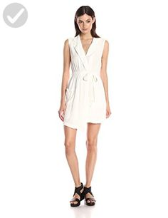 MINKPINK Women's Little Lolita Sleeveless Faux Wrap Shirt Dress, Off White, Large - All about women (*Amazon Partner-Link)