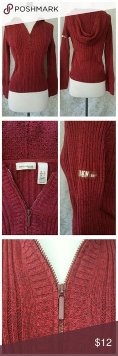 DENY zip front sweater Zip front red zip front sweater. (I am on vacation, items purchased now can be shipped September 12) DKNY Sweaters V-Necks