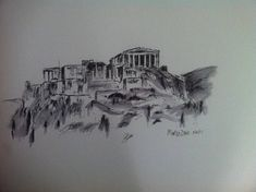 Acropolis wall art,Athens,Greece,pen and ink,historic,monument,greek