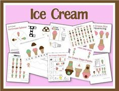 Free printables toddler and preschool printables. Ice cream coloring pages, printable activities and ice cream crafts. Preschool Printables, Preschool Themes, Classroom Activities, Summer Activities, Learning Activities, Letter Activities, Free Preschool, Toddler Preschool, Preschool Crafts