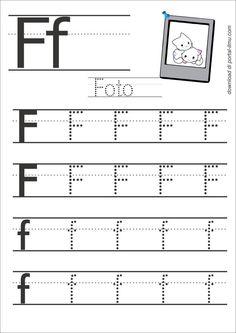 f Free Printable Handwriting Worksheets, Alphabet Writing Worksheets, English Worksheets For Kindergarten, Letter Worksheets For Preschool, Preschool Writing, Preschool Letters, Tracing Worksheets, Learning, Learning Activities
