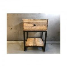 Metalen nachtkastje 1 laatje End Tables, Nightstand, Diy, House, Furniture, Bedroom Inspiration, Vintage, Home Decor, Industrial Style