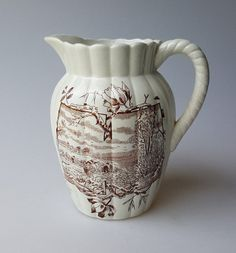 Victorian Aesthetic period brown transferware pitcher harvest scene H mark #Victorian