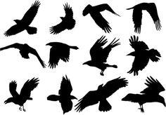 Flying Ravens Silhouette On Caws Field Raven A Tattoo Silhouette Tattoos, Crow Silhouette, Norse Tattoo, I Tattoo, Crow Flying, Flying Birds, Fly Drawing, Petit Tattoo, Russian Tattoo