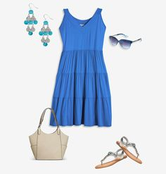 Just toss on quick summer looks like this plus size Beachy Keen outfit featuring our Tiered Sundress and Amelia Jeweled Thong Sandal available in sizes 14-32 online at avenue.com. Avenue Store