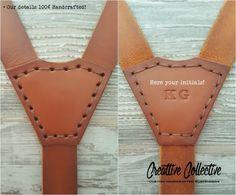 Leather Suspenders · Wedding Suspenders · 100% Handcrafted - Sevilla Custom Brown Vintage 1''