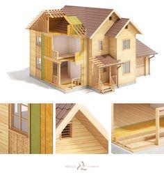 LHT wood-frame house construction on Behance Wood Frame House, Wooden House, Cabins In The Woods, House In The Woods, Balloon Frame, Wood Frame Construction, 3d Modelle, Timber House, Big Houses