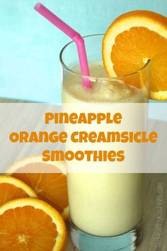 REFRESHING! Love creamsicles? Gotta try this smoothie that adds sweet, tropical pineapple! Loaded with protein from Greek yogurt - so delicious, so healthy!