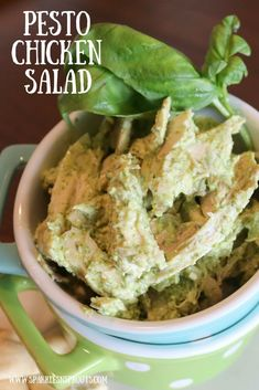 This quick and easy Pesto Chicken Salad is a perfect lunch or dinner treat!!  #pesto #chicken #salad #summer #sparklesnsprouts