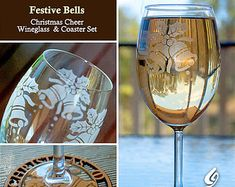Specially designed for the Christmas season, this wine glass and coaster set features an original design exclusive to Lumigrafika giftware. The Festive Angel motif features repeatedly around the glass as a frost-engraved image. Bell Design, Christmas Bells, Creative Studio, Coaster Set, Frost, Wine Glass, Festive, Angel, Etsy