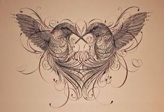 Illustration and calligraphy combined - would be a lovely idea for an anniversary or wedding card birds tattoo hearts Neue Tattoos, Body Art Tattoos, Chest Tattoo Drawings, Pretty Tattoos, Cool Tattoos, Tatoos, Tasteful Tattoos, Tattoo Oma, Tattoo Bird