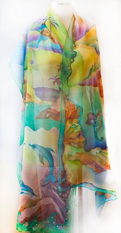 Hand Painted Silk Shawl Veil Silk Chiffon Scarf Beach Wedding Tropical Island of the Blue Dolphins
