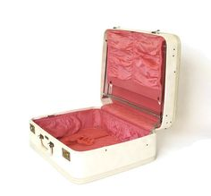 Vintage Bergman Ivory White Suitcase With Pink by marybethhale, $60.00