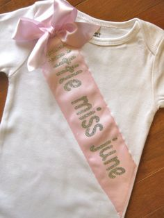 Baby Girl Faux Pageant Sash Birthday Special Occasion Little Miss Onesie Custom Personalized 3 6 9 12 18 24 month. $23.00, via Etsy.