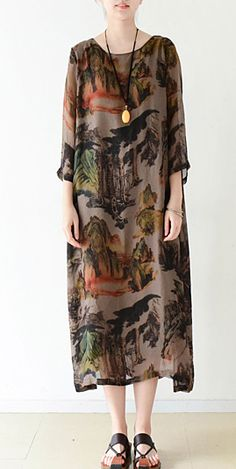 Brown flowy print chiffon dresses maxi dress long sleeve cotton lining