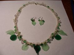 Green Glass Leaf Necklace and Earring Set Handmade by chubbychick, $35.00