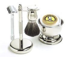 Shaving Gift Set with Merkur Safety Razor, Bowl, Shaving Soap, Badger Brush, Stand and Safety Razor, Great Gift Idea for Father Husband or Boyfriend